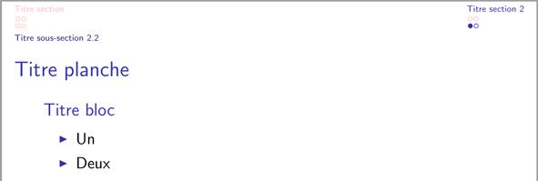 LaTeX - Beamer : couleur de la puce en « miniframe » - TeXnique