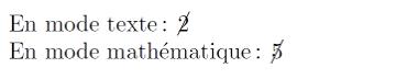 nombre barré par une oblique